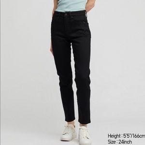 Uniqlo Black High Rise Cigarette Jeans size 30